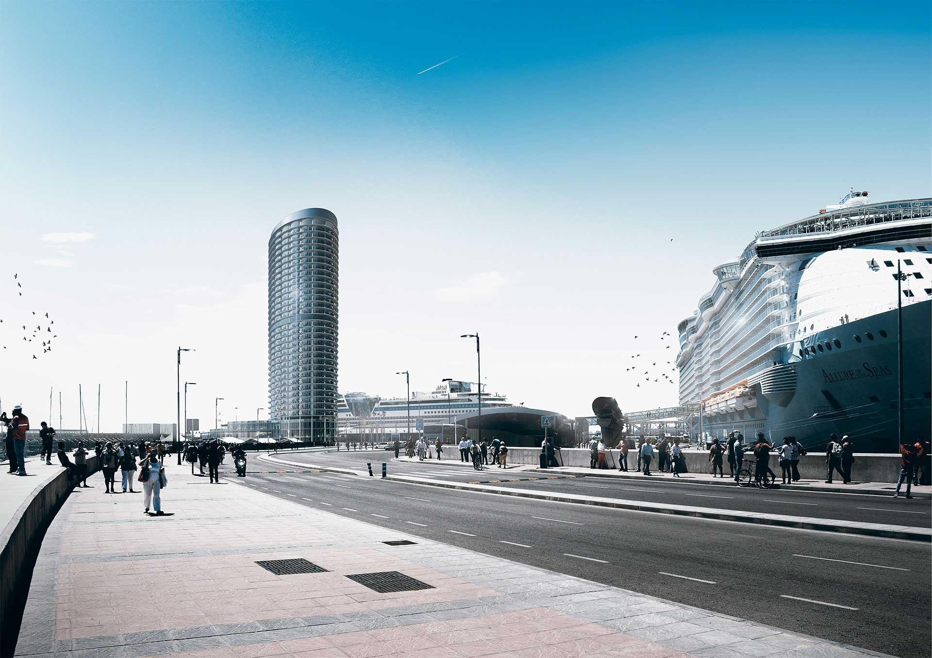 Infografia 3D - Hotel puerto de Málaga