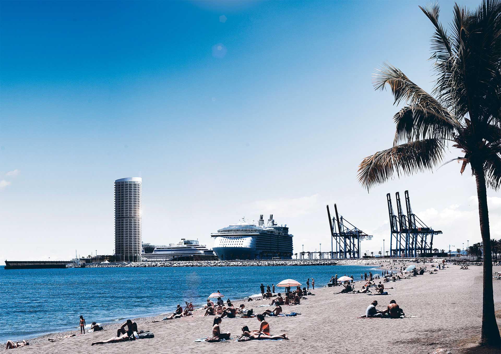 Imagen 3D - Rascacielos en el puerto de Málaga