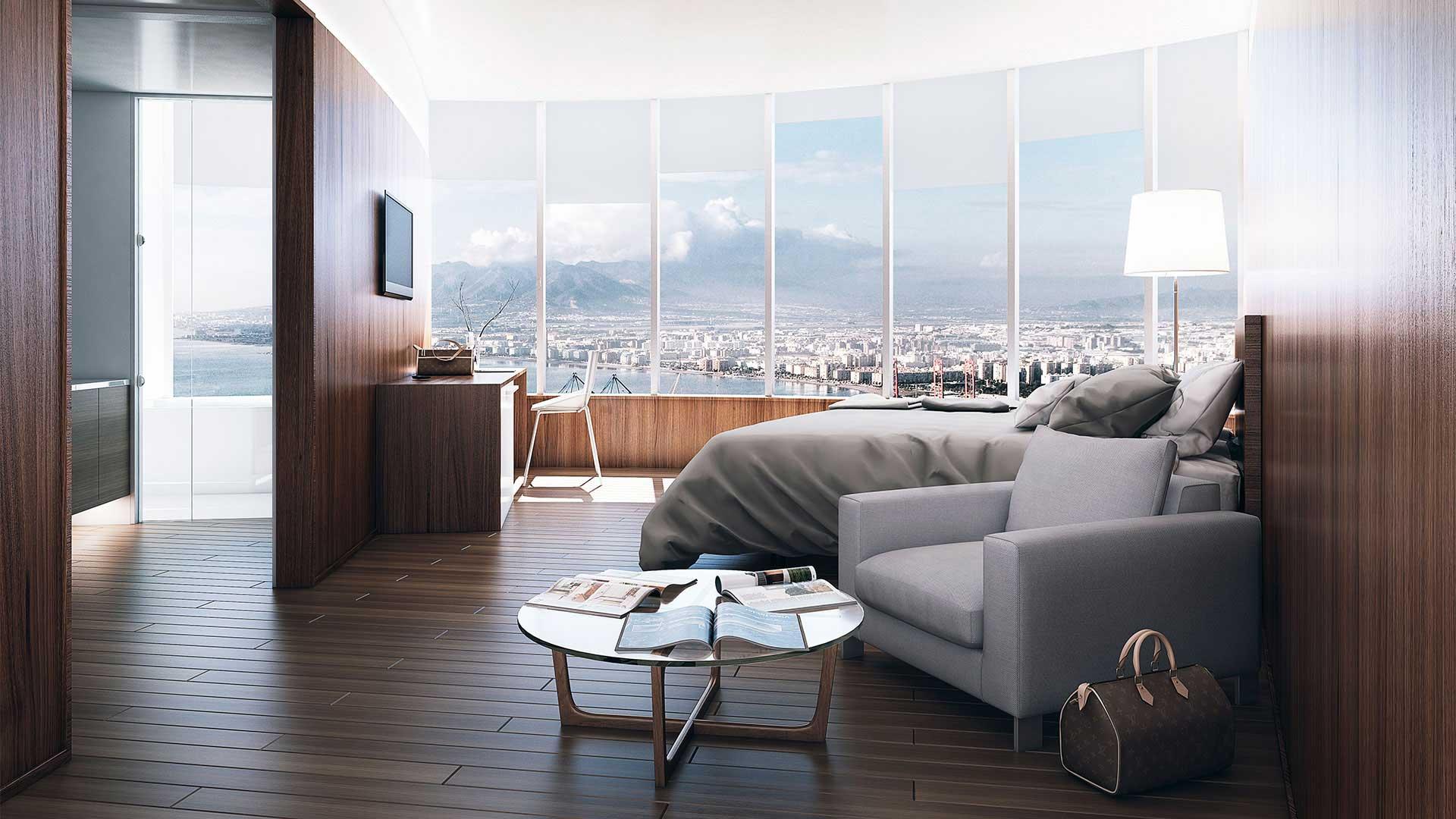 Diseño 3D - Habitación hotel de lujo en Málaga