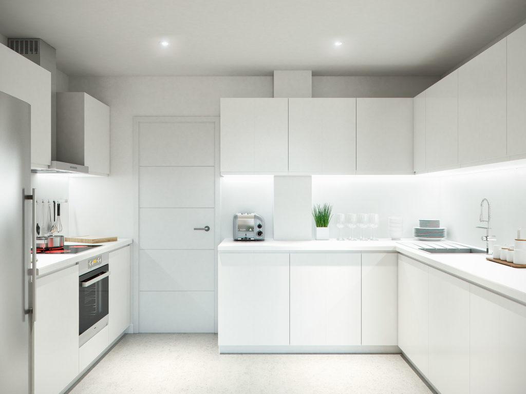 Proyecto de infoarquitectura para edificio residencial for Diseno interior cocina